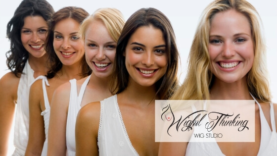 The perfect wig matches your skin tone - women with different hair color and skin tones